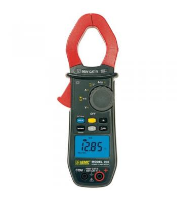 AEMC 203 [2139.12] TRMS Clamp-on Meter, 1000VAC / DC, 600AAC / 900ADC, Ohms, Continuity, Temperature