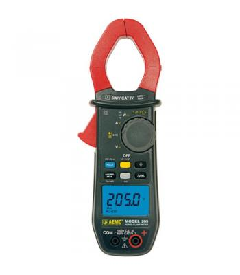 AEMC 205 [2139.40] TRMS Power Clamp Meter, 1000VAC / DC, 600AAC / 900ADC, Continuity, Phase Rotation