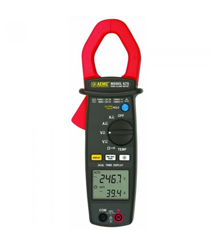 """AEMC 675 [2117.50] 1000A AC, 1400V DC Dual Display Clamp-on Meter, 1.58"""" Jaw Size"""
