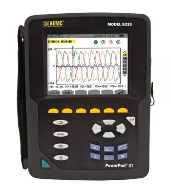 AEMC 8333 [2136.10] PowerPad III Three-Phase Power Quality Analyzer, One-/Three-Phase Networks