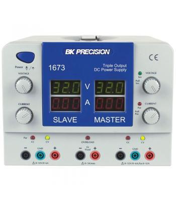 BK Precision 1673 [1673-220V] Triple-Output Quad Display DC Power Supply, (2)32V/3A, (1)5V/3A, 220VAC Line Input