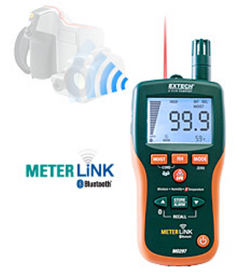 Extech MO297 [MO297] Pinless Moisture Psychrometer with IR Thermometer and Bluetooth METERLiNK