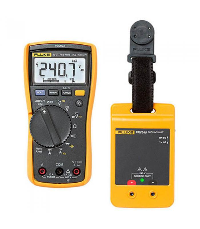 Fluke 117/PRV240 [117/PRV240] True-RMS AC/DC Electrician's Multimeter w/ Compact Portable Safety Proving Unit Combo Kit