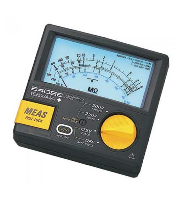 Yokogawa 2406E Series [240642] Analog Insulation Tester w/ Back Lighting, 125V/20M ohm, 250V/50M ohm, 300V